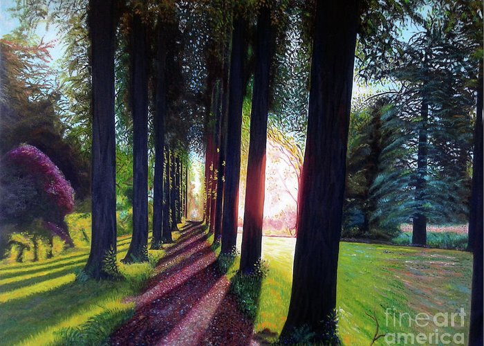 Landscape Greeting Card featuring the painting Pathy of light by Jose Manuel Abraham