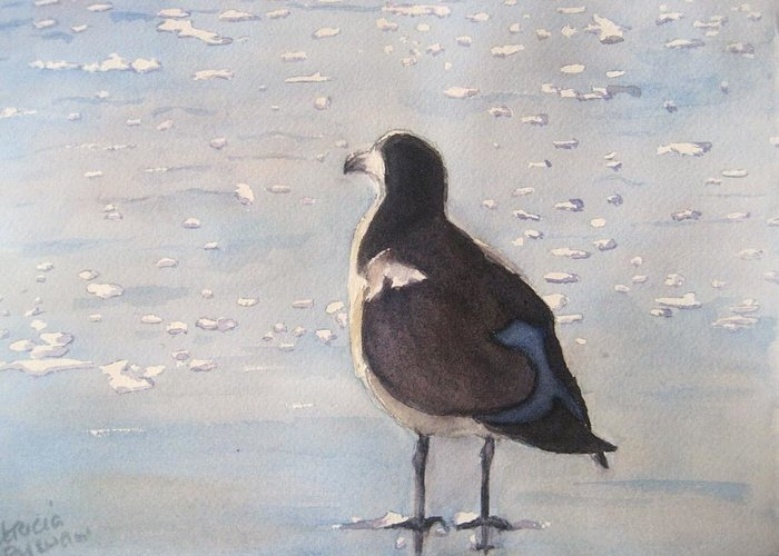 Seagull Greeting Card featuring the painting Patience by Patricia Pushaw