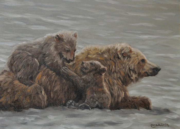 Bella Coola Grizzly Greeting Card featuring the painting Patience by Tahirih Goffic