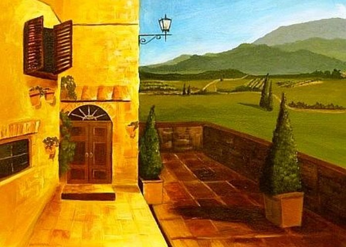Italy Greeting Card featuring the painting Patio In Paradise by Joe Lanni