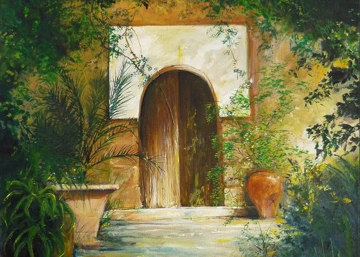Farmhouse Courtyard Greeting Card featuring the painting Patio Mallorquin by Lizzy Forrester