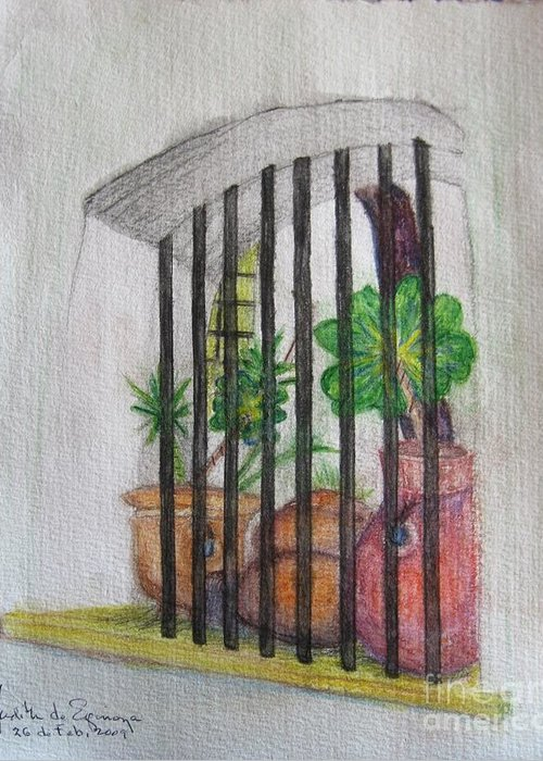 Window Bars Greeting Card featuring the painting Patio Window - Gifted by Judith Espinoza
