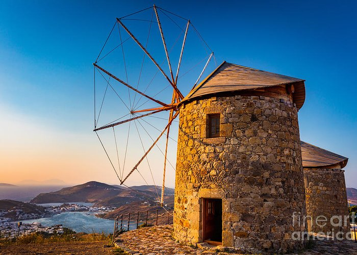 Aegean Sea Greeting Card featuring the photograph Patmos Windmills by Inge Johnsson