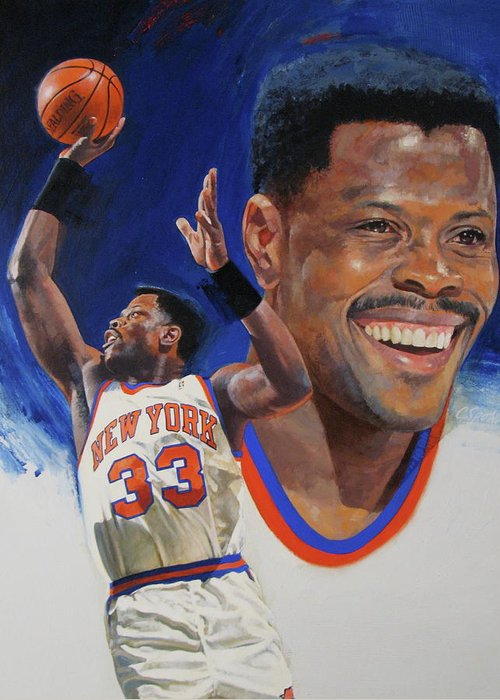 Oil/alkyd Greeting Card featuring the painting Patrick Ewing by Cliff Spohn