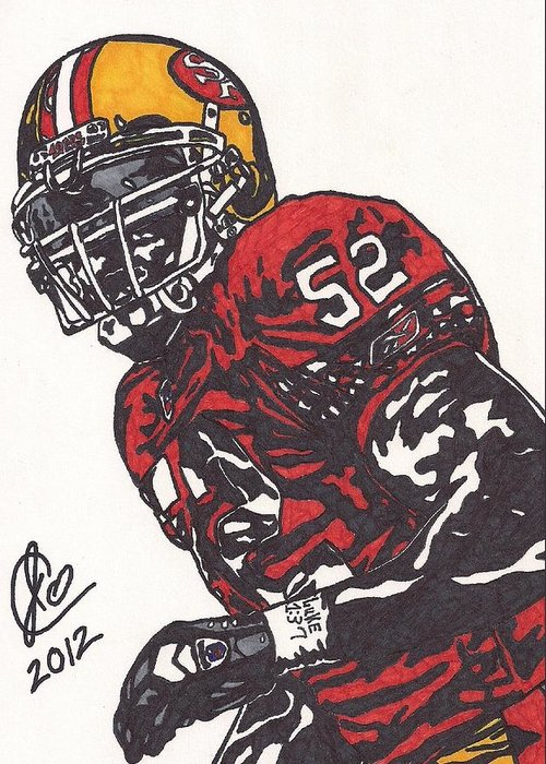 Football Greeting Card featuring the drawing Patrick Willis by Jeremiah Colley