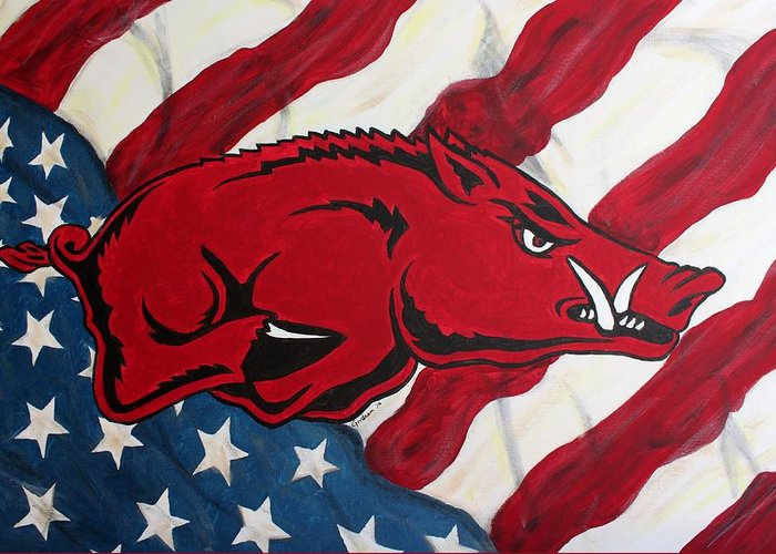 Razorback Greeting Card featuring the painting Patriot Hog by Nathan Grisham