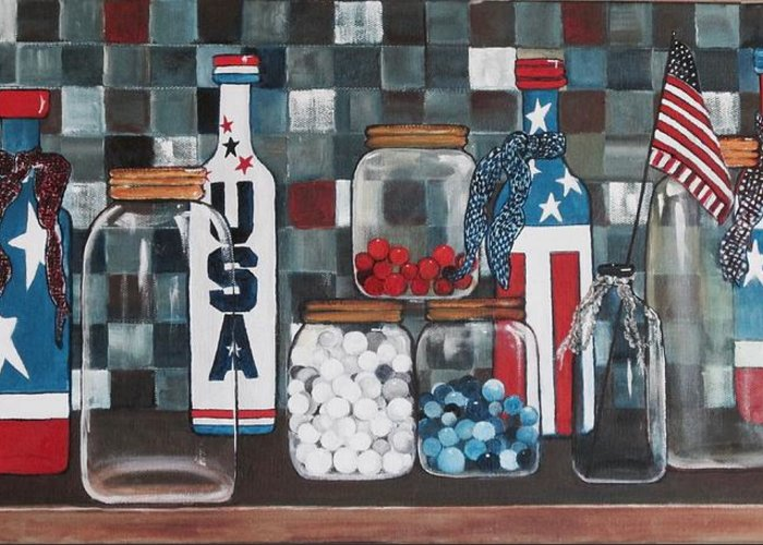 Patriotic Greeting Card featuring the painting Patriotic Bottles And Jars by Judy Lybrand