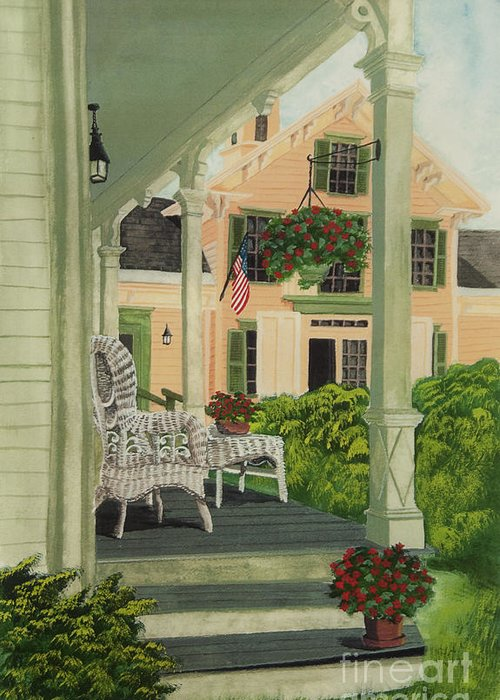 Side Porch Greeting Card featuring the painting Patriotic Country Porch by Charlotte Blanchard
