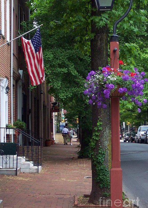 Cityscape Greeting Card featuring the photograph Patriotic Street In Philadelphia by Debbi Granruth