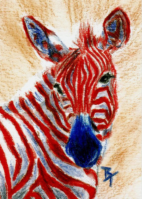 Zebra Greeting Card featuring the painting Patriotic Zebra Aceo by Brenda Thour