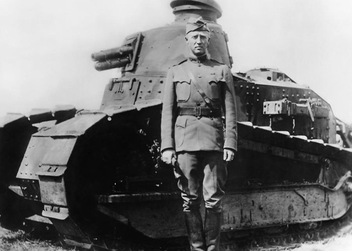 George Patton Greeting Card featuring the photograph Patton Beside a Renault Tank - WWI by War Is Hell Store
