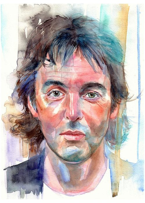 Paul Greeting Card featuring the painting Paul McCartney young portrait by Suzann Sines