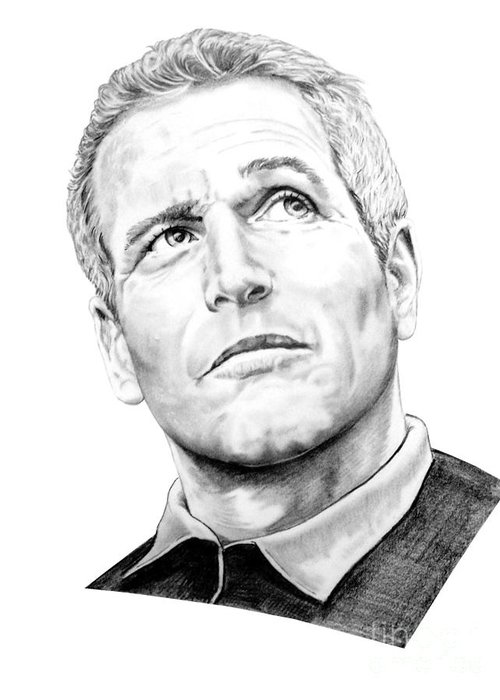 Paul Newman Greeting Card featuring the drawing Paul Newman by Murphy Elliott