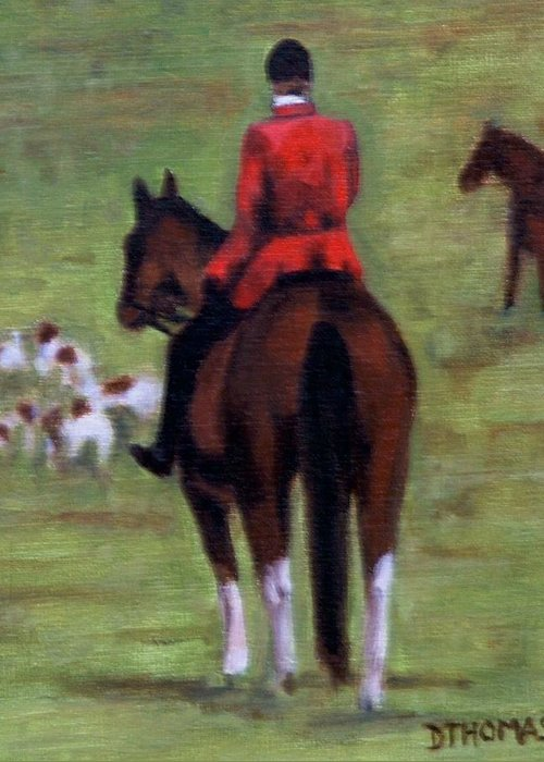 Horse Greeting Card featuring the painting Pause by Donna Thomas