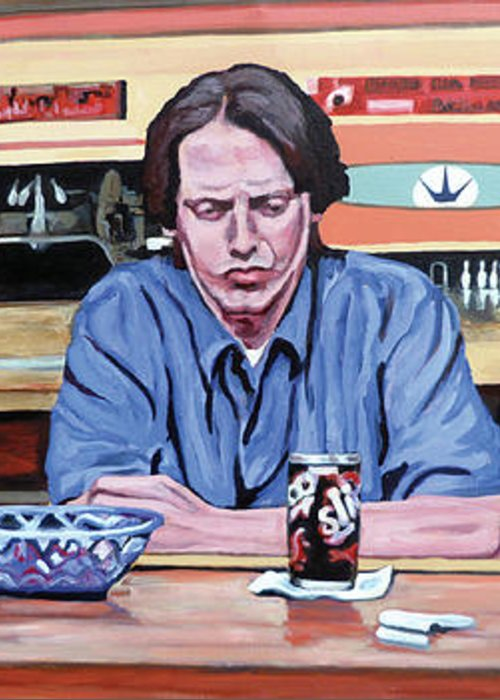 The Big Lebowski Greeting Card featuring the painting Pause For Reflection by Tom Roderick