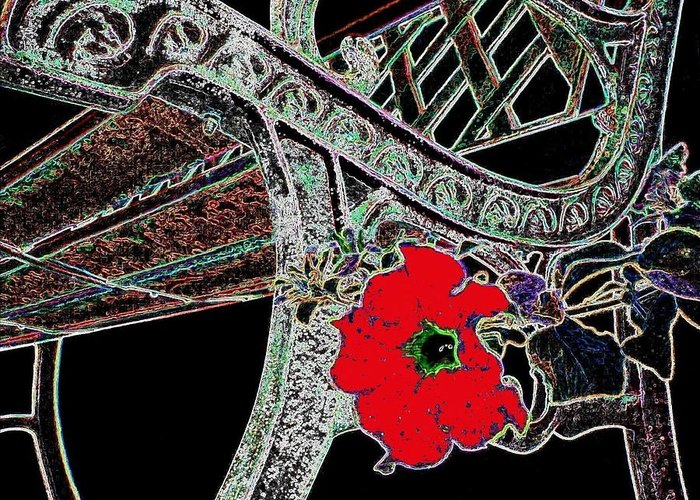 Bench Greeting Card featuring the digital art Pause To Contemplate 1 by Will Borden