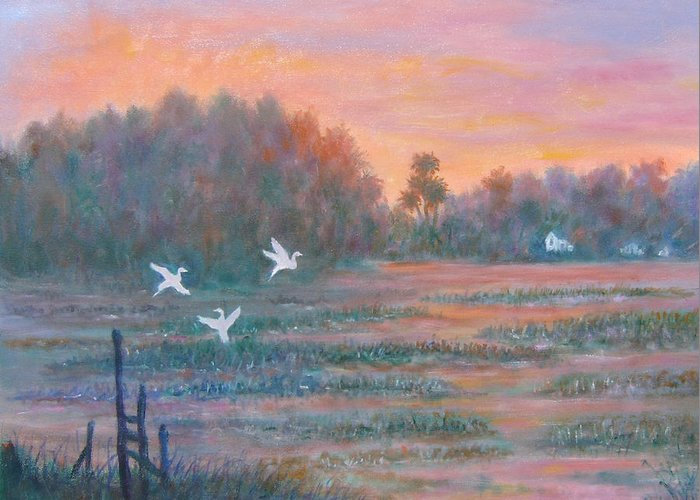 Low Country; Egrets; Sunset Greeting Card featuring the painting Pawleys Island by Ben Kiger
