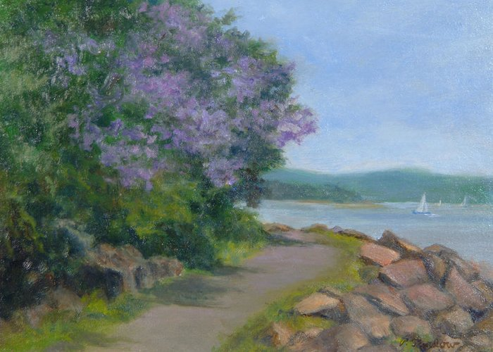 Oil Landscape Greeting Card featuring the painting Paulownia Along The Nyack Trail by Phyllis Tarlow