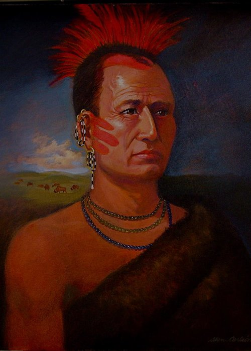 American Indian Plains In Headdress Greeting Card featuring the painting Pawnee Chief Around 1820 by Alan Carlson