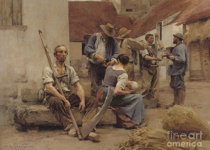 Paying Greeting Card featuring the painting Paying The Harvesters by Leon Augustin Lhermitte