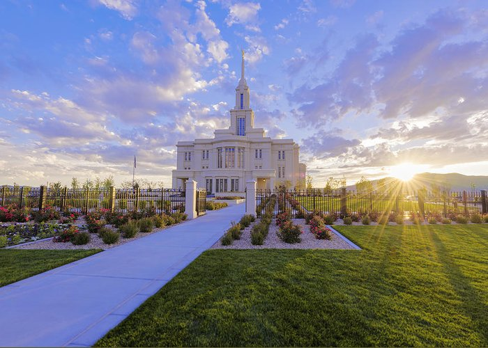 Payson Greeting Card featuring the photograph Payson Temple I by Chad Dutson