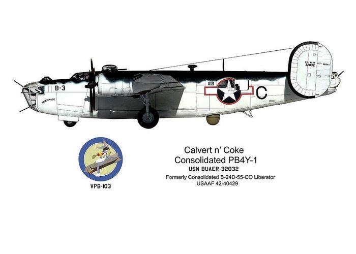 Pb4y-1 Greeting Card featuring the digital art Pb4y-1 Liberator Profile by Richard Filteau