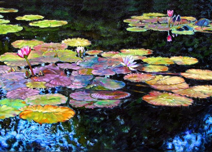 Water Lilies Greeting Card featuring the painting Peace Among The Lilies by John Lautermilch