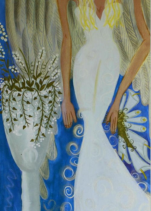 Angel Artwork Greeting Card featuring the painting Peace And Love Angel by Helen Gerro