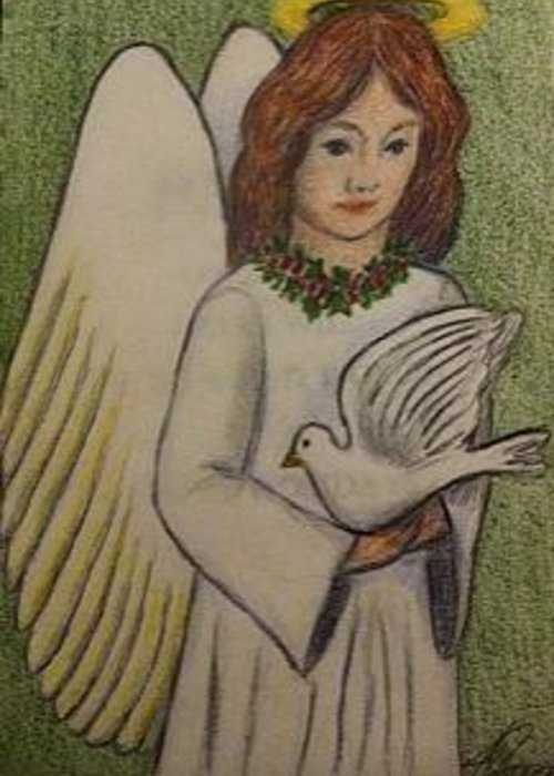 Angel Christmas Card Greeting Card featuring the painting Peace Angel by Jan Watford