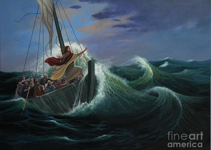 Bible Greeting Card featuring the painting Peace Be Still by Michael Nowak