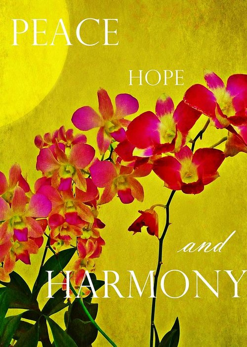 Peace Hope And Harmony Greeting Card featuring the photograph Peace Hope And Harmony by Patricia Strand