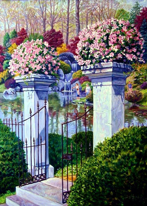 Garden Gates Greeting Card featuring the painting Peace In The Garden by John Lautermilch
