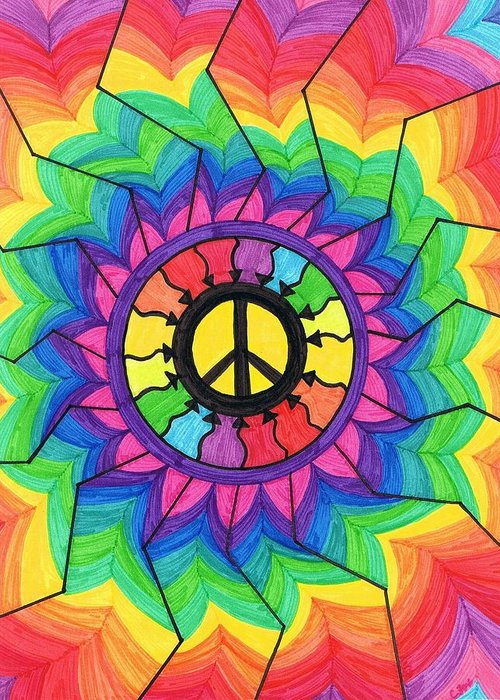 Peace Greeting Card featuring the painting Peace Mandala by Cheryl Fox