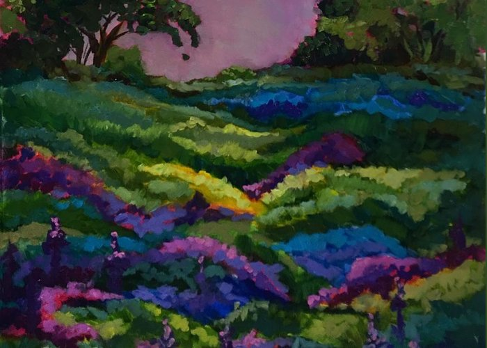 Landscape Greeting Card featuring the painting Peace by Nancy Breiman