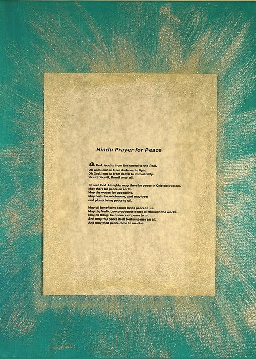 Peace Greeting Card featuring the painting Peace Prayers - Hindu Prayer For Peace by Emerald GreenForest