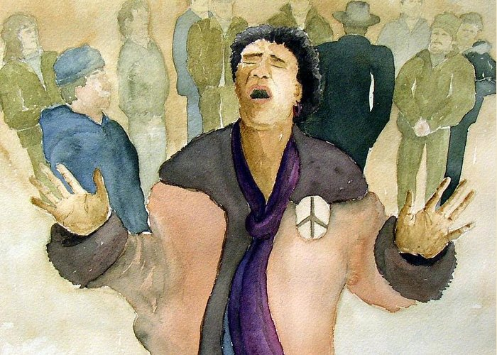 Figure Greeting Card featuring the painting Peace Protest by Joe Lanni
