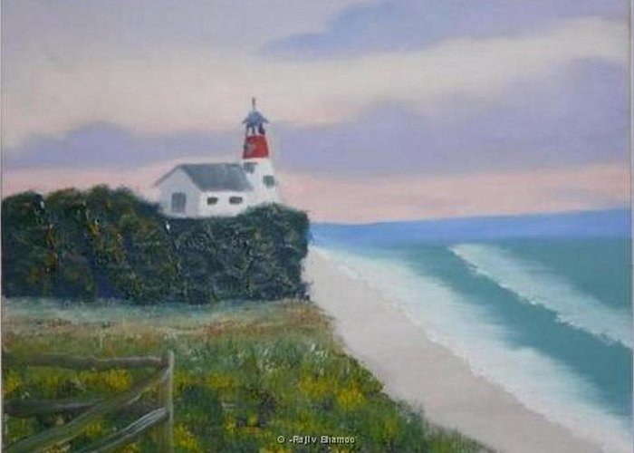 Seascape Greeting Card featuring the painting Peace Sold by R B