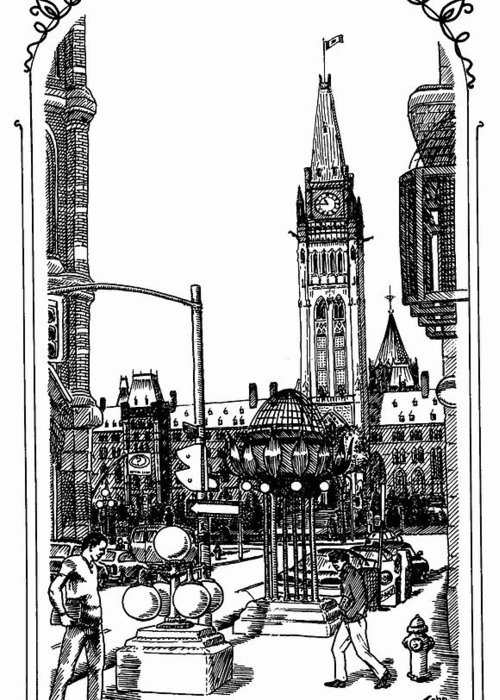 Cityscape Greeting Card featuring the mixed media Peace Tower Parliament Hill Ottawa 1995 by John Cullen