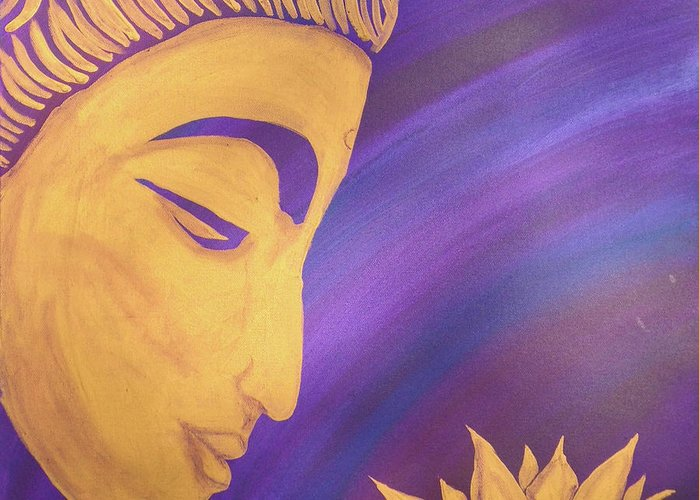 Buddha Greeting Card featuring the painting Peace Within Peace Without by Suni Moon