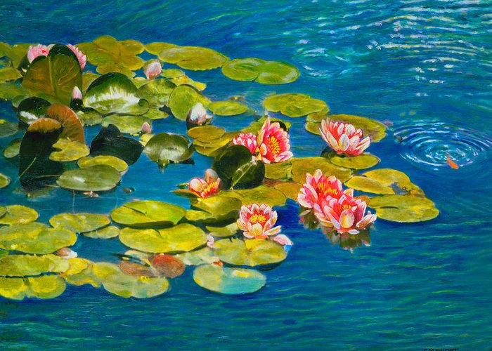 Water Lilies Greeting Card featuring the painting Peaceful Belonging by Michael Durst