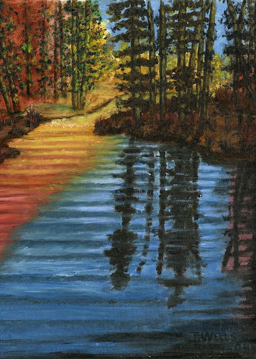 Peaceful Brook Stream Vibrant Color Reflective Greeting Card featuring the painting Peaceful Brook by Tanna Lee M Wells