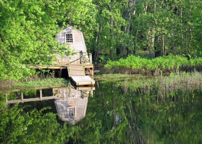 Quaint Cabin Greeting Card featuring the photograph Peaceful Cabin by Desiree Schmidt