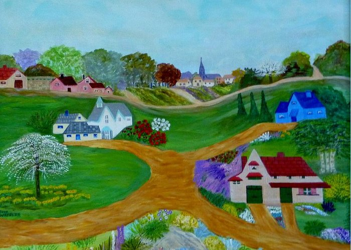 Anke Wheeler Greeting Card featuring the painting Peaceful Country Lanes by Anke Wheeler