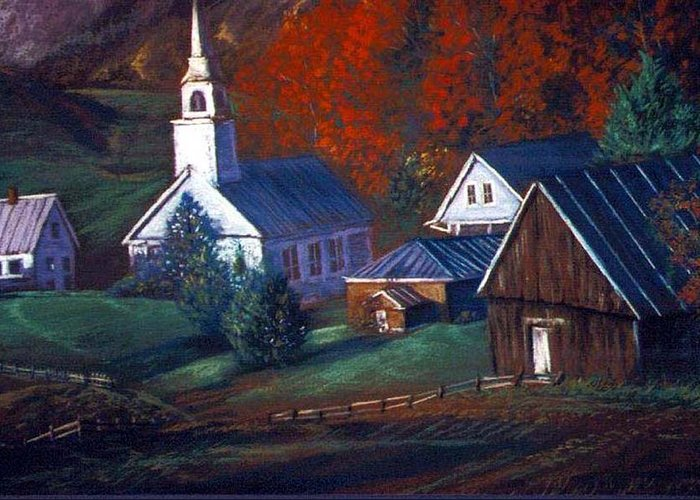 Church Greeting Card featuring the pastel Peaceful Dwellings by Tommy Winn