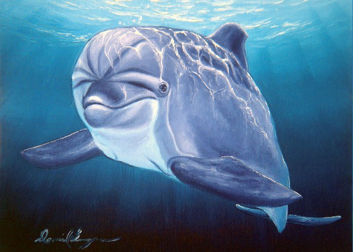 Dolphin Greeting Card featuring the painting Peaceful Greeting by Daniel Bergren