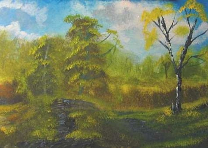 Peaceful Land Bryan Perry Greeting Card featuring the painting Peaceful land 12x24 by artist bryan perry by Bryan Perry