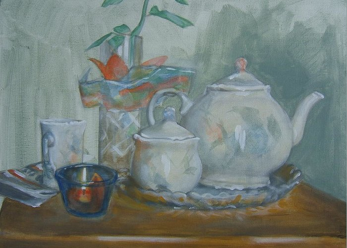 Still Life Greeting Card featuring the painting Peaceful Morning by Howard Stroman