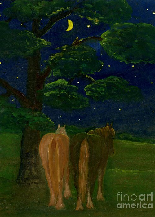 Folkartanna Greeting Card featuring the painting Peaceful Night by Anna Folkartanna Maciejewska-Dyba