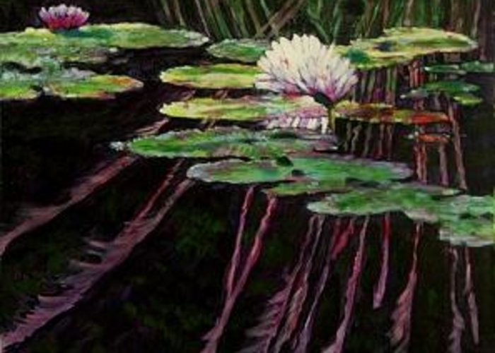 Quiet Pond With Water Lily And Reflections. Missouri Botanical Garden Greeting Card featuring the painting Peaceful Reflections by John Lautermilch
