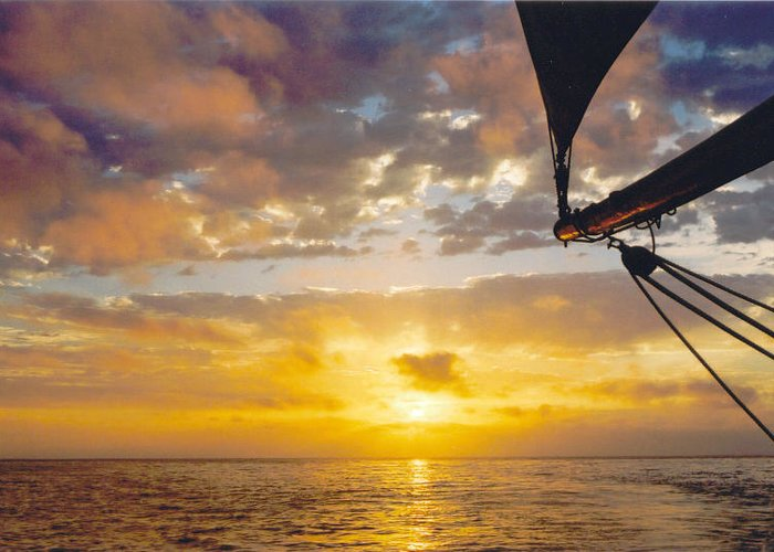 Sunset Greeting Card featuring the photograph Peaceful Sailing by Kathy Schumann